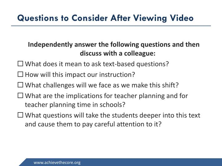 Questions to Consider After Viewing Video