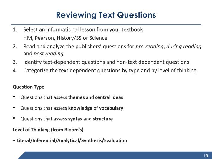 Reviewing Text Questions