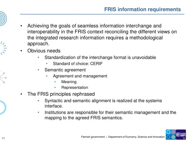 FRIS information requirements