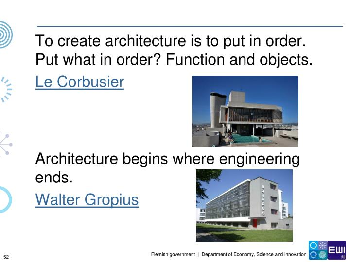 To create architecture is to put in order. Put what in order? Function and objects.