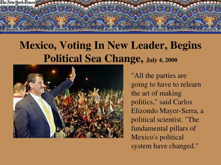 a history of political parties in the mexican government  the president the legislature electoral bodies political parties  the  constitution of mexico reflects its history and the political system.