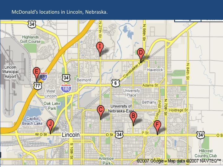 McDonald's locations in Lincoln, Nebraska.