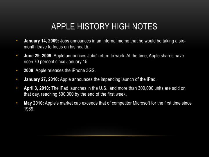 Apple history high notes