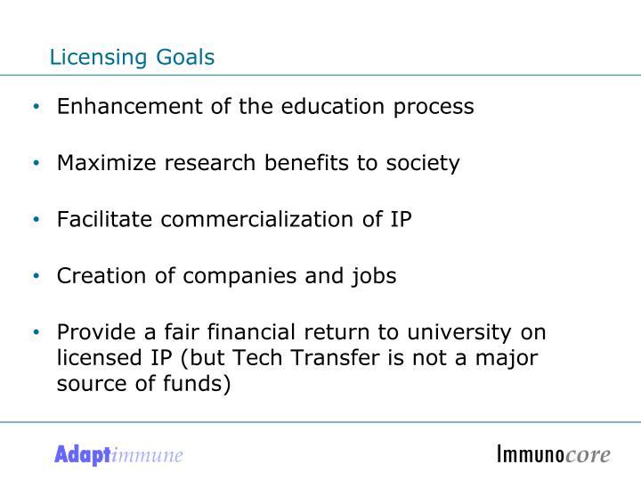 Licensing Goals
