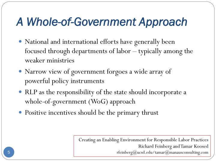 A Whole-of-Government Approach