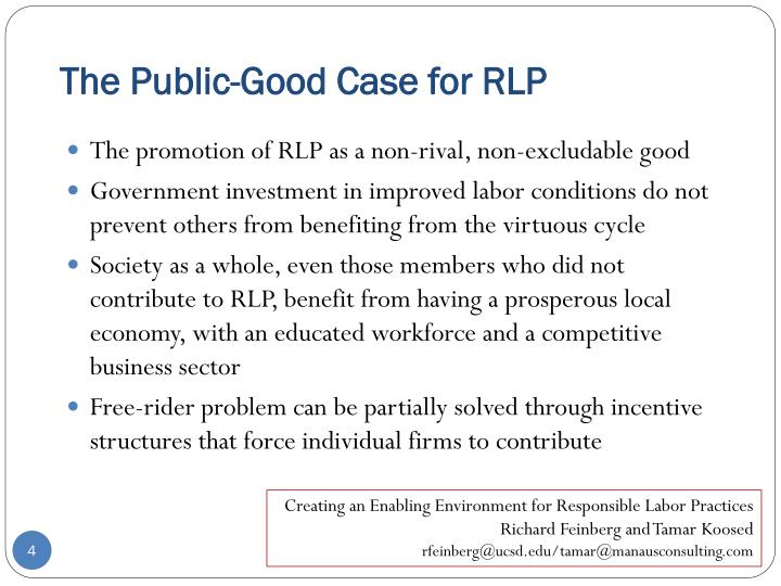 The Public-Good Case for RLP