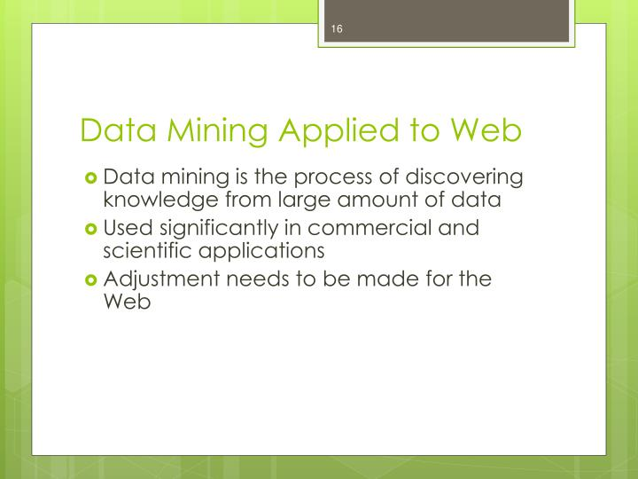 Data Mining Applied to Web