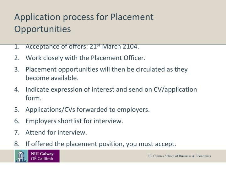 Application process for Placement Opportunities