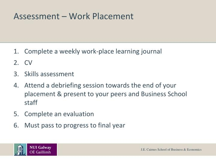 Assessment – Work Placement