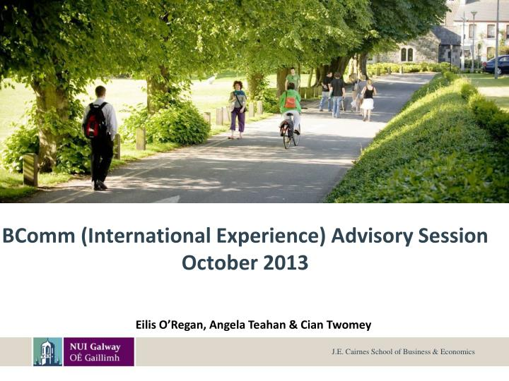 Bcomm international experience advisory session october 2013