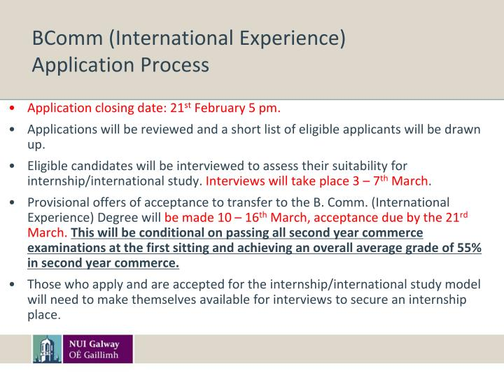 BComm (International Experience)