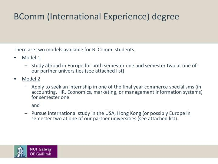 BComm (International Experience) degree