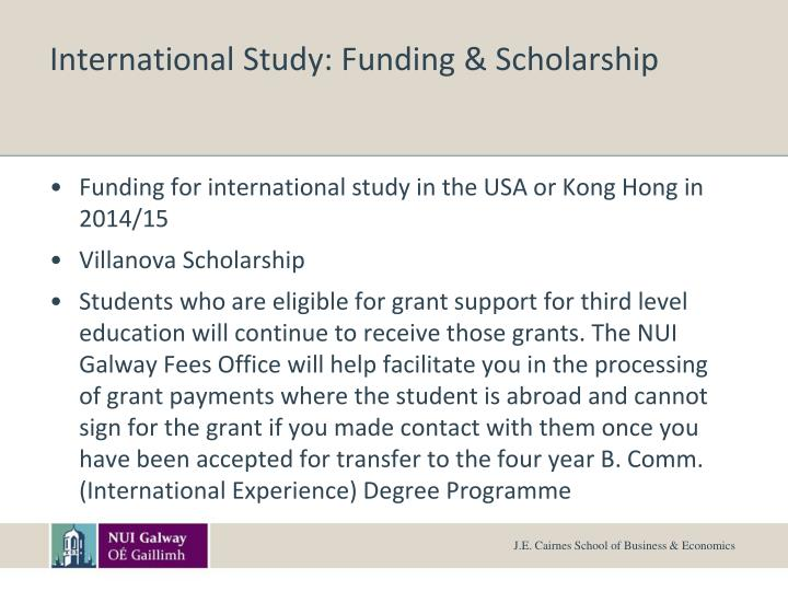 International Study: Funding & Scholarship