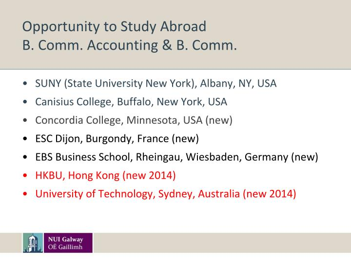 Opportunity to Study Abroad