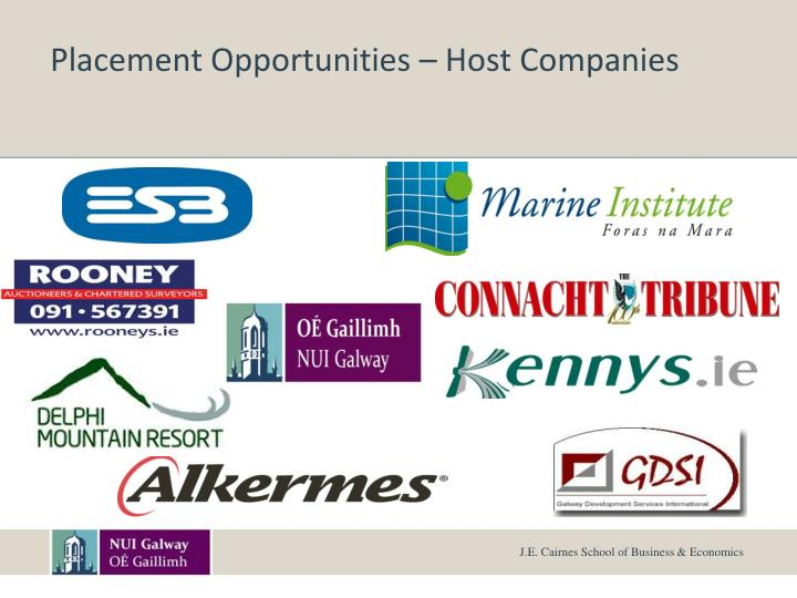 Placement Opportunities – Host Companies