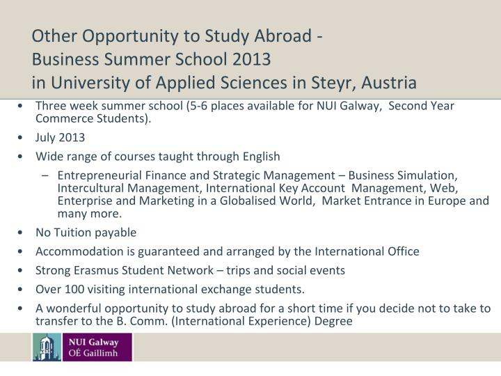 Other Opportunity to Study Abroad -