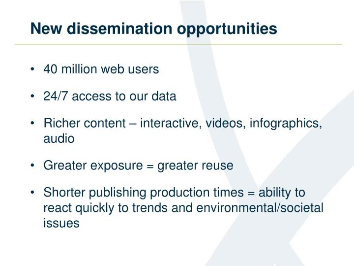 New dissemination opportunities