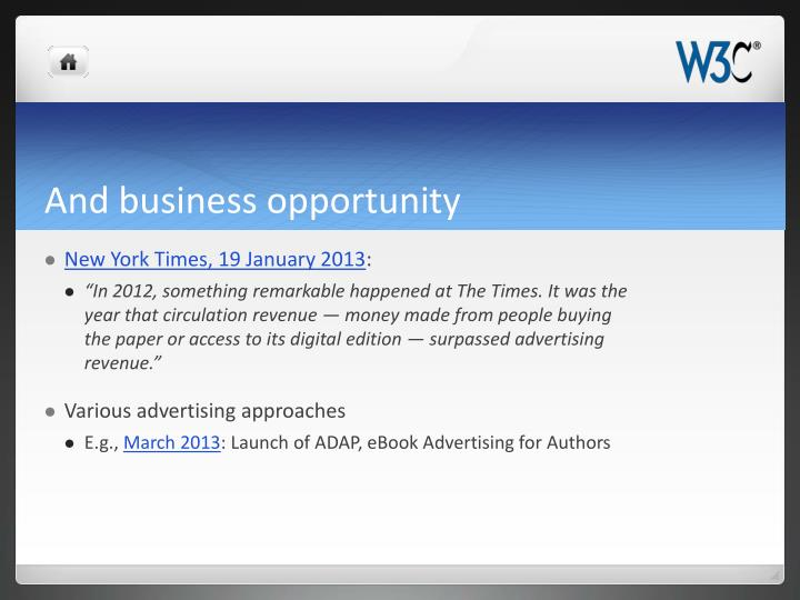 And business opportunity
