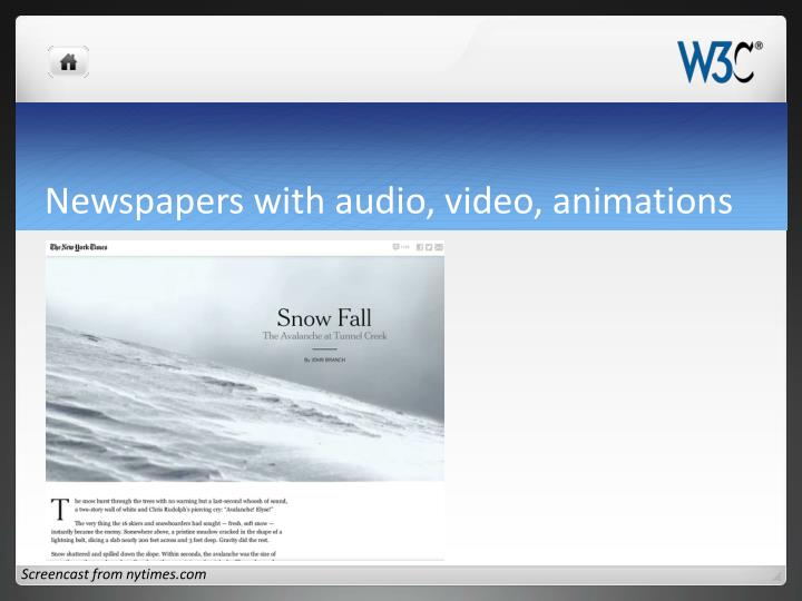 Newspapers with audio, video, animations