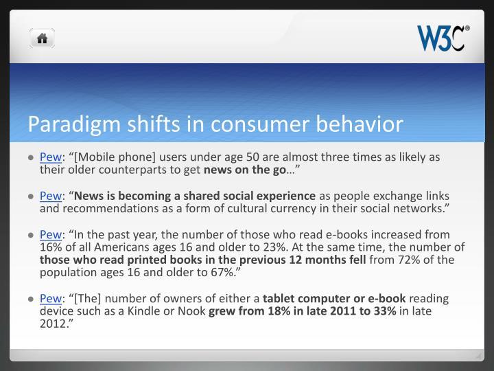 Paradigm shifts in consumer behavior