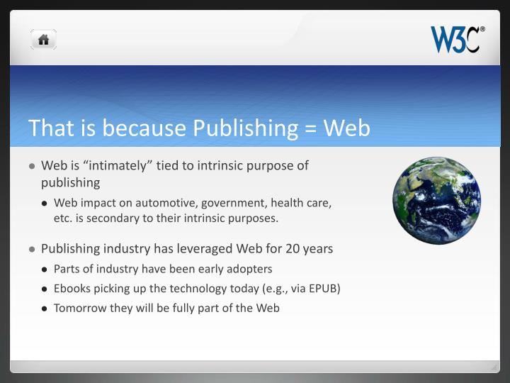 That is because Publishing = Web