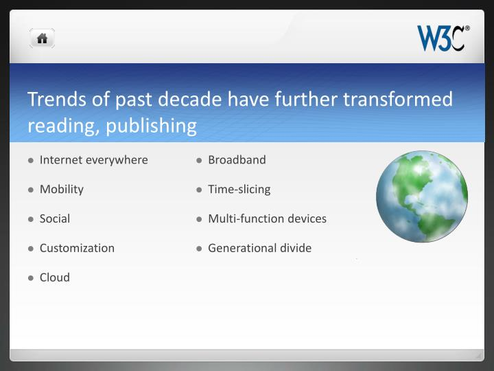Trends of past decade have further transformed reading, publishing