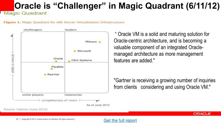 "Oracle is ""Challenger"" in Magic Quadrant (6/11/12)"