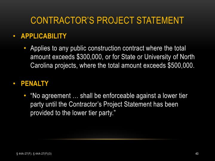 CONTRACTOR'S PROJECT STATEMENT