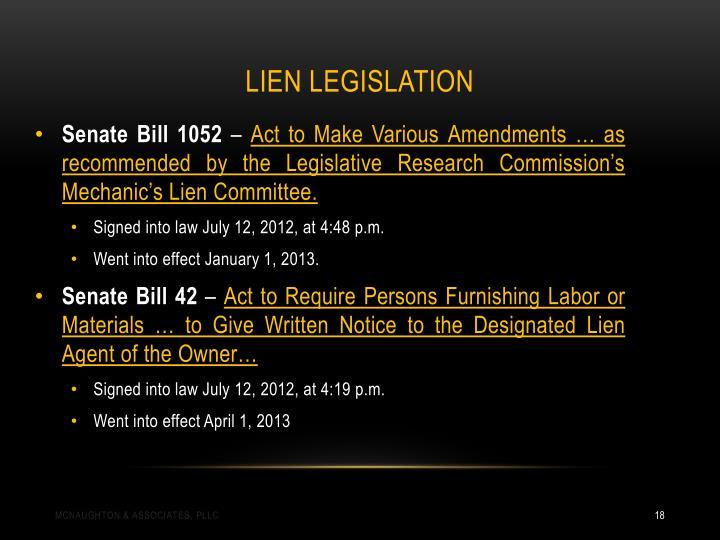 Lien Legislation