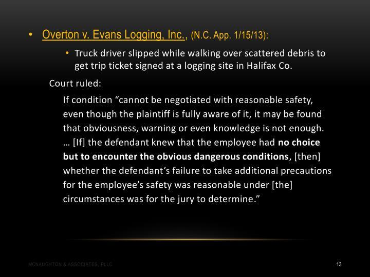 Overton v. Evans Logging, Inc.