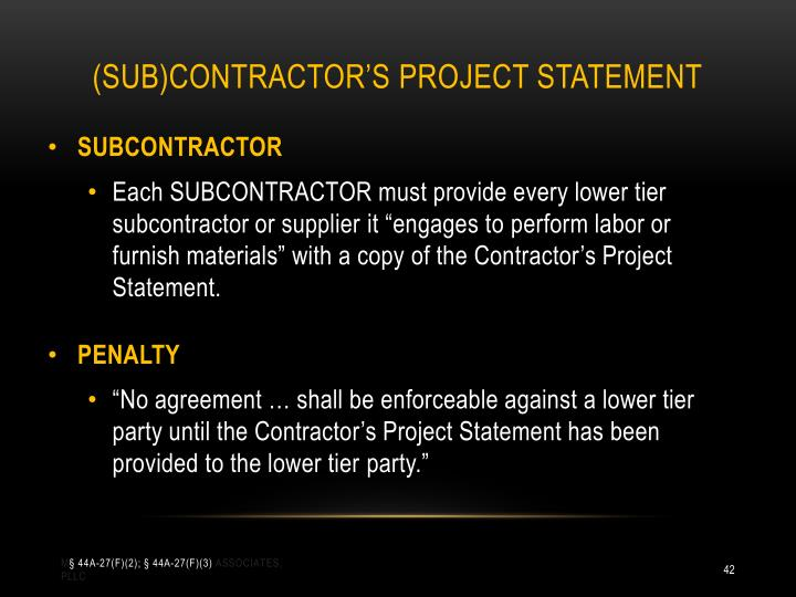 (SUB)CONTRACTOR'S PROJECT STATEMENT
