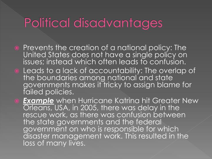 the advantages and disadvantages of federalism in florida When it comes to the system of federalism that we practice in the united states,  there are many advantages as well as disadvantages some of the pros and.