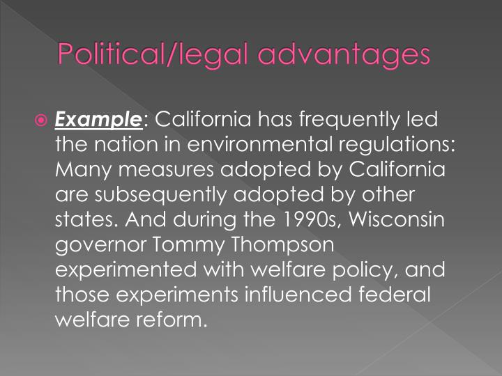 advantages and disadvantages of the political legal environment The regulations resulting from these initiatives and later laws would draw both criticism and celebration for their perceived advantages and disadvantages health and safety.