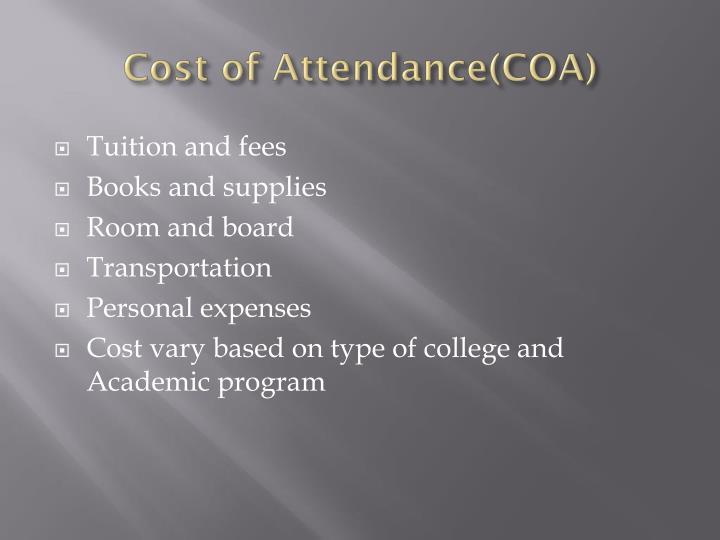 Cost of Attendance(COA)