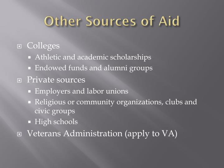 Other Sources of Aid