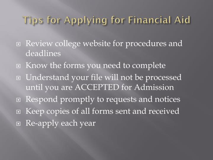 Tips for Applying for Financial Aid