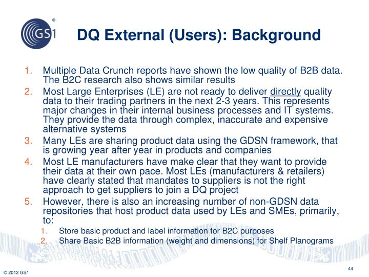 DQ External (Users): Background