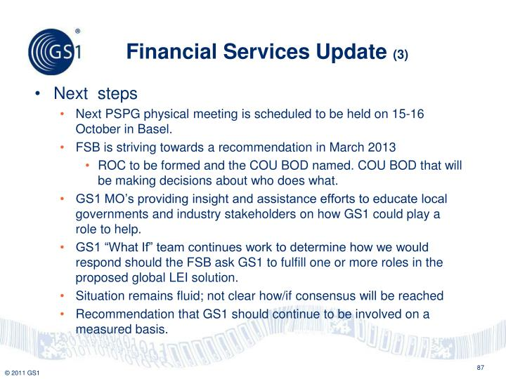 Financial Services Update