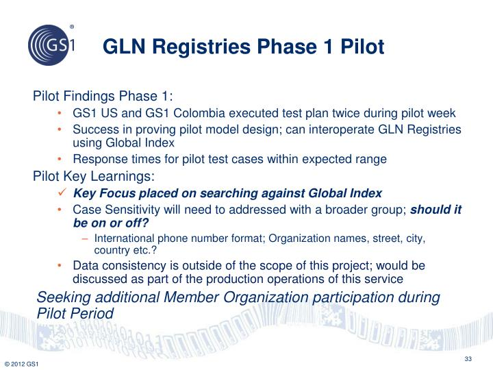 GLN Registries Phase 1 Pilot