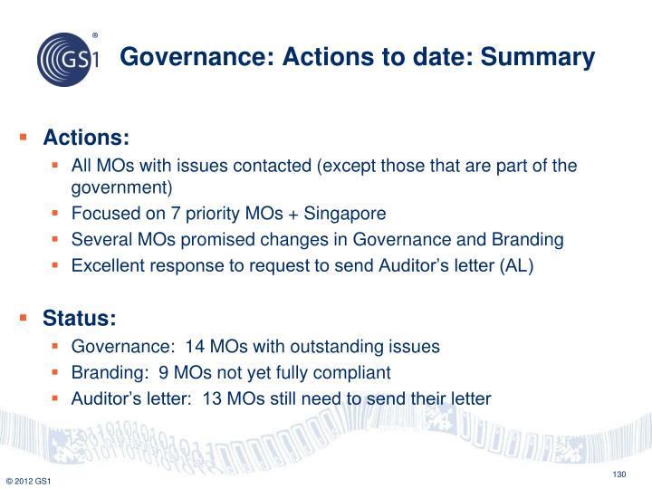 Governance: Actions to date: Summary