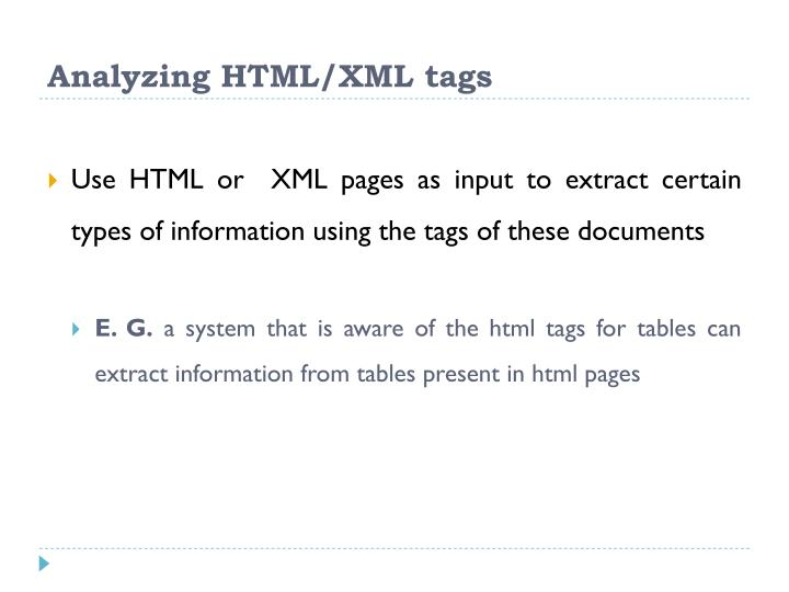 Analyzing HTML/XML tags