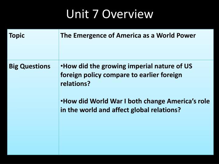 Unit 7 Overview