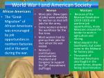 world war i and american society