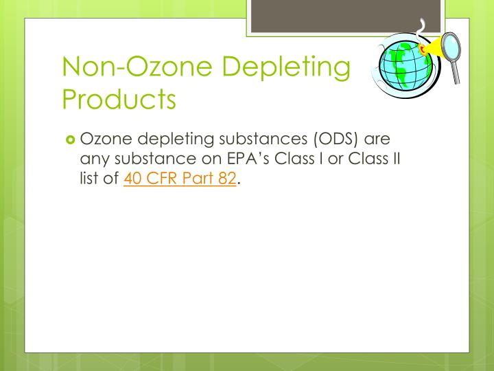 Non-Ozone Depleting Products