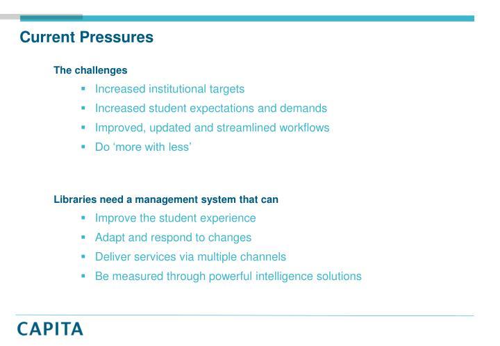 Current Pressures