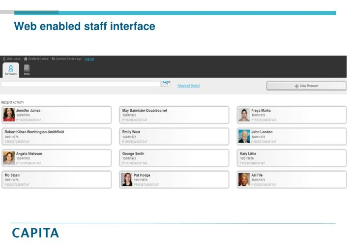 Web enabled staff interface