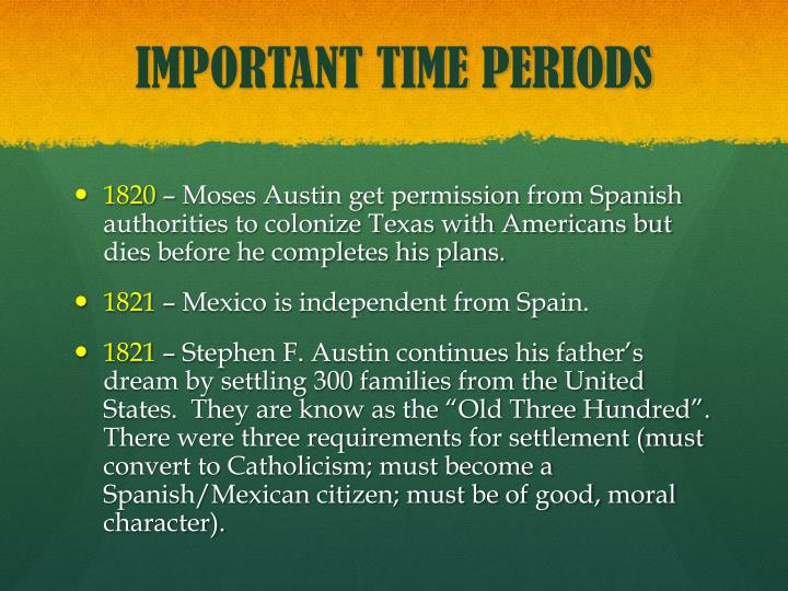 IMPORTANT TIME PERIODS