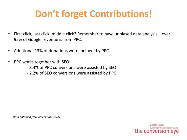 Don't forget Contributions!
