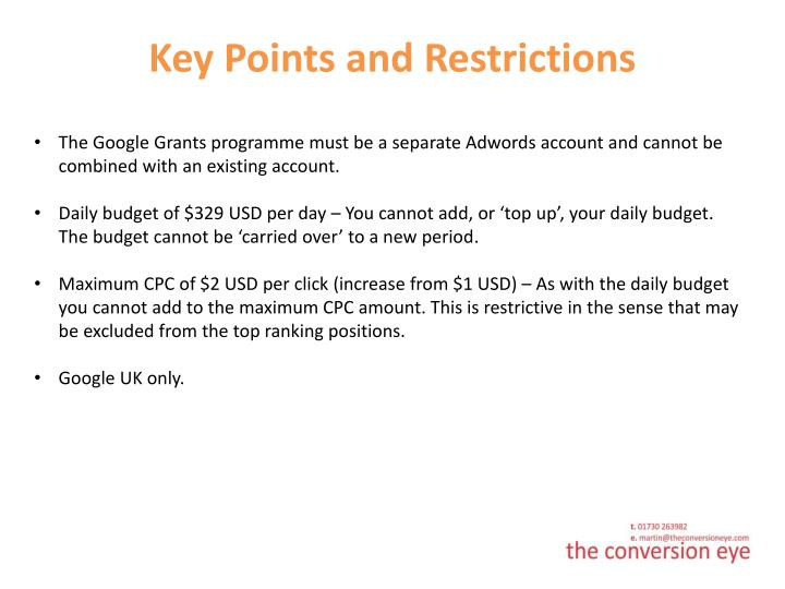 Key Points and Restrictions