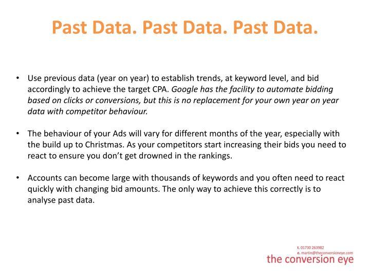 Past Data. Past Data. Past Data.